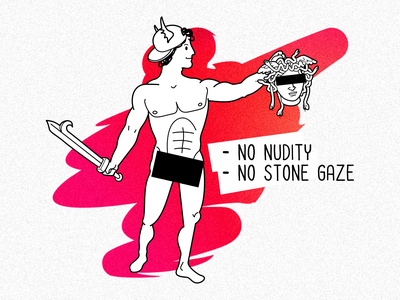 Censored Perseus perseus greek mythology cartoon nudity censored prohibition illustration vector medusa gorgon