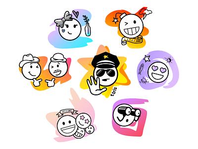 sticker pack #1 stickers sticker pack emoji emoticons cartoon illustration vector
