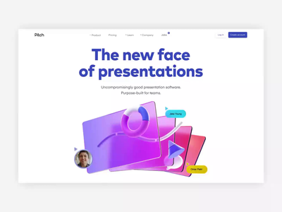 Pitch is here! product presentation web design website animation 3d pitch