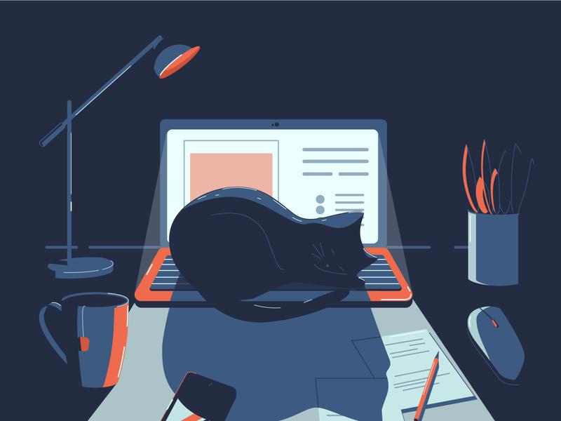 Desk workspace adobeillustator design flat illustration vector lamp cup laptop cat night workspace desk
