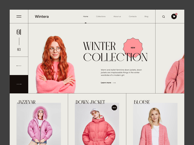 Wintera uidesign font design pink clothing design ecommerce web ux ui