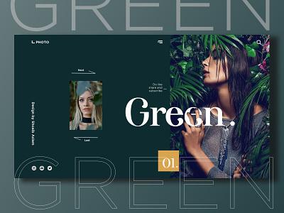 Green Website UX & UI. minimal web typography illustration socialmedia design branding minimalist logo socialmediapost brand identity