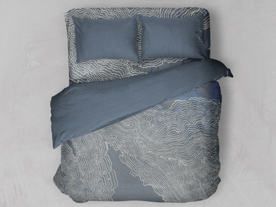 Fictional Topography (2) drawing white blue painting ink topography mapping mockup bedding