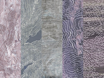 Fictional Topography pen and ink line drawing textile design surface design line white purple blue pink ink painting drawing