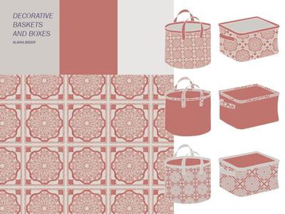 Quilt Basket home decor basket quilt grey gray red textile surface design mockup