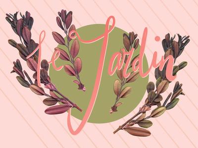 Le Jardin pink hand lettering typography logo drawing background textile design pattern painting surface design plants illustration