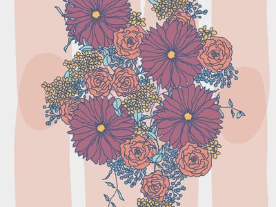 Floral Poster bouquet drawing hand drawn flowers floral design home decor textile design pattern painting illustration surface design