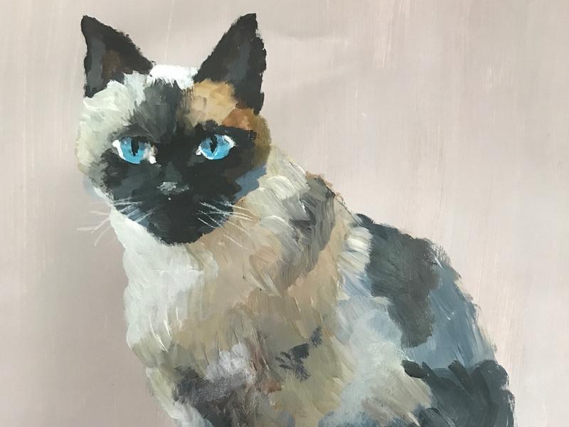 KITTY portrait acrylic fauna animal pet cat illustration painting