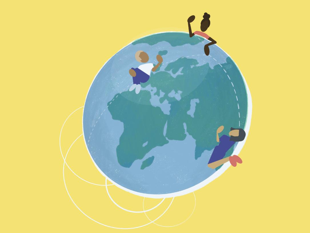 24 Hour Support flat people tech support world globe procreate digital illustration