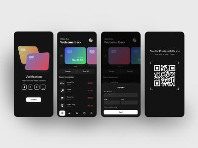 Mobile Bank App dribbble banking app bank app recent scan debit debit card black gray qrcode banking bank uıdesign ui  ux ux app minimal ui design