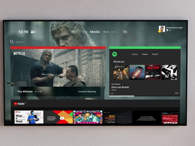 Playstation 5 UI Concept Media #2 thropy plus playstation glass gray youtube spotify netflix player concept ui ux media ps5