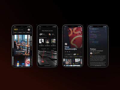Mobile News brading dailyui model night navigation newsapp modern iphone12 iphone gray red yellow black minimal ux ui app news app news design