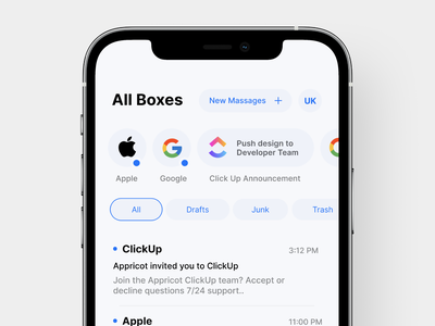 MailBox of iOS 15 iphone apple branding app ux minimal ui design