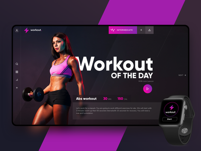 Workout of the Day Challenge ui design screen design tv screen ux design excercise workout