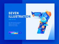 Digital illustration ui blue digital currency graphic design logo design 7seven block chain visual identity illustration brand design landing page