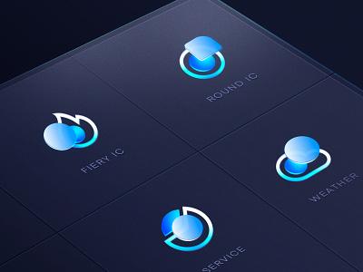 yolanda  galss icon glass icon blue weather glassy visual style guide web design loading page loadingpage branding logotype app design icongraphy icon design