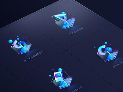 Glass icon graphic design glass icon visualization data analysis glass logotype colorfull marketing icon icon design 3d icon colorful branding illustration