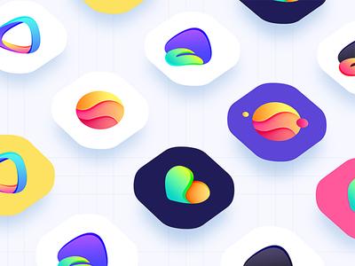 color icon design (iPhoneX) icon design app,gif ui illustration iphone button logo symbol design visual style guide wallpaper visual design color