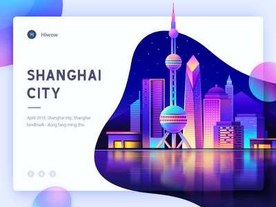 Shanghai Architecture building Design (web design) ios icon landing page china house building color gradients cards web deisgn hiwow banner graphic material gif illustration ui app