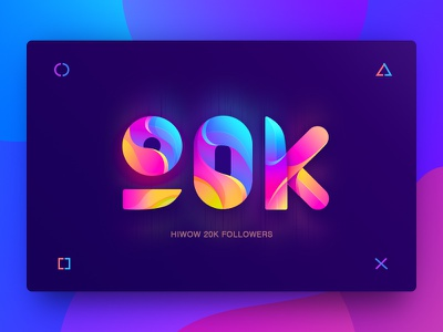 Hiwow 20000 + followers(02) black and red typography logo design icons 20k pink red blue number visual design ui app web design colors gradients graphic hiwow color icon banner illustration