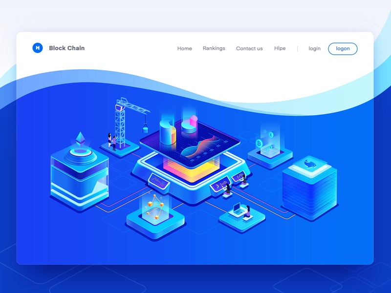 Block chain web(illustration) design 2.5d fish blue color miners pool wallets mine pool ethereum btc block chain graphic typography ui design dashboard logo hiwow banner web design illustration
