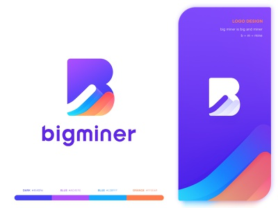 Logo Big Miner b m number letter visual style guide ui  ux design block chain andriod color icons gradient color app store icon logo mark design ios graphic hiwow illustration