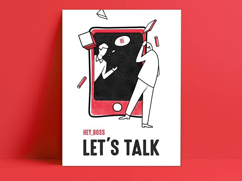 communicate(illustration) people picture book black boss contradictory space colors palette red and black poster design visual design ui ux banner illustration
