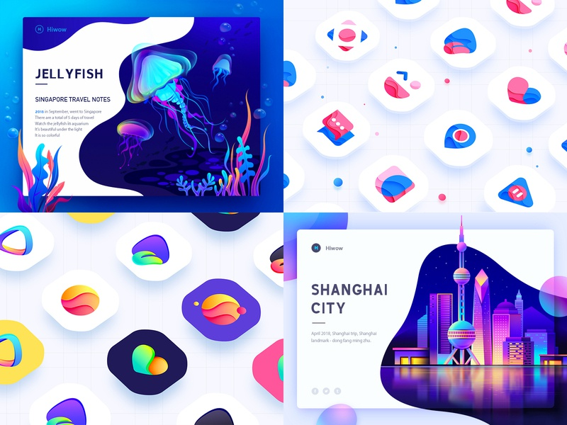 My Top4 Shots in2018 top 4 2018 purple and pink blue and yellow design follower jell yfish fish icons visual style guide dashboard web design graphic hiwow banner illustration