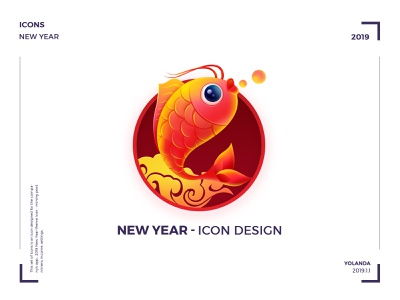 New year icon water colors cloud based erp in chennai fish red and yellow graphic hiwow ui  ux design icon app 2019 china red visual design logo icons tabbar app concept ui