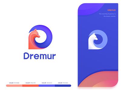 Logo deign - Dremur ui design hiwow gradient color orange and blue web design logo design letter-d illustration graphic design fox logo blue and white