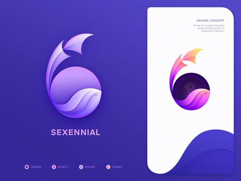 logo(icon)design_six (02) number6 six purple and blue fish logo color icons logo design app store logo mark symbol icon landing page gradient icon visual style guide pattern art ui design branding agency web design illustration
