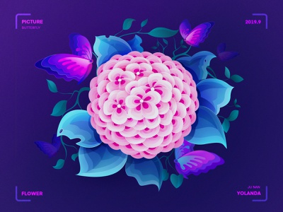 Flowers and butterflies(花开蝶自来) leaves pink and purple landing page website butterflies flower illustration product design visual style guide visual design graphic illustration