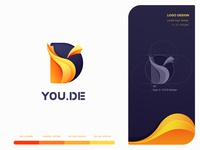 LOGO YOUDE design hiwow visual style guide banner illustration drawings logotype ui design colors web browser letter d letter y letter design system logo mark symbol ios app design branding app store icon