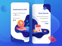 Blockchain illustration (Annual Mining Report) app ui logo design visual design ui ux design calendar ui logotype icons mine pool block chain drawing application app landing page banner visual style guide dashboard ios graphic web design illustration