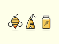 Buzz Buzz minimal icon honey hive bee