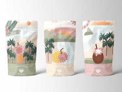 Hawaiian Tea Illustrations and Package Design tea packaging tea branding packaging package design procreate illustration