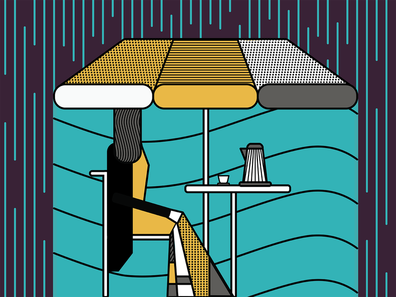 A rainy summer day vector illustrator illustration