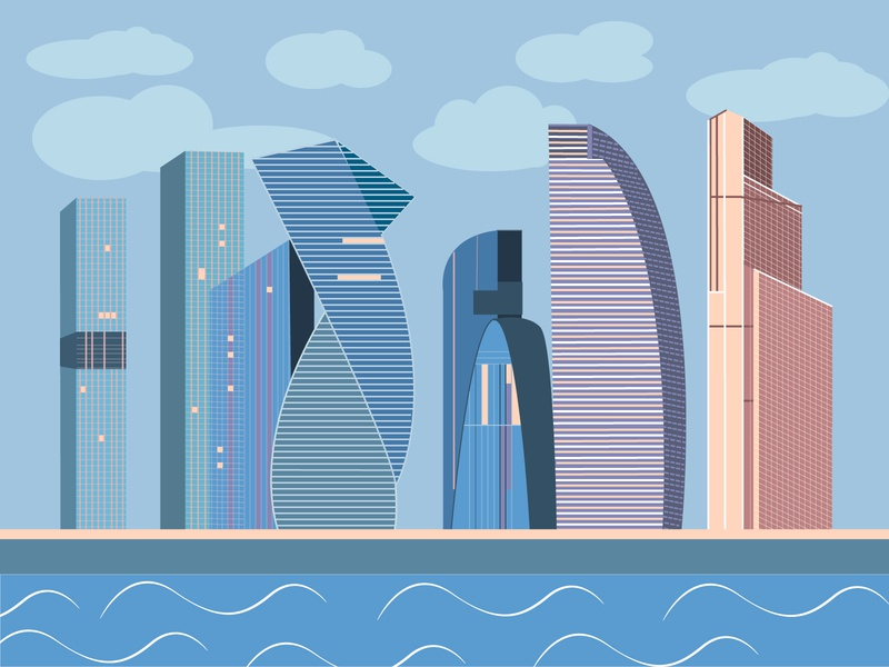 A kind of Moscow City illustrator vector illustration