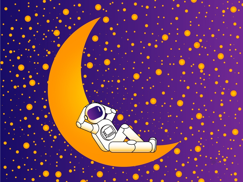 Just a spaceman chilling on the Moon adobe illustrator illustrator flatdesign vector illustration