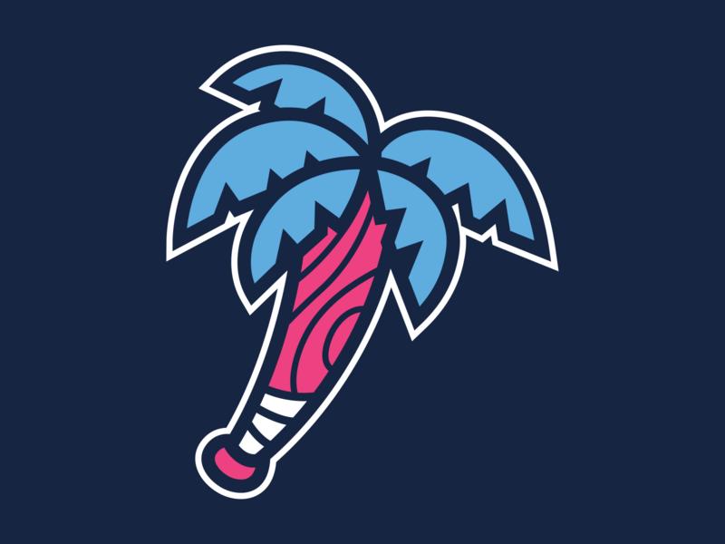 Bat Palm tree logo baseball apparel sports branding sports design mascot character design sports logo mascot design illustration branding