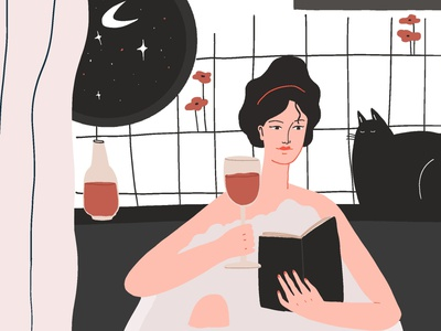 Self care social media concept characterdesign woman 2d wine lover cat illustration adobe illustrator magazine illustration book illustration digital art character design procreate illustration