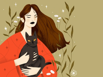 Peace of mind illustration 2d woman illustration character design design feeling magazine illustration procreate book illustration portrait illustration cat woman calm illustraion