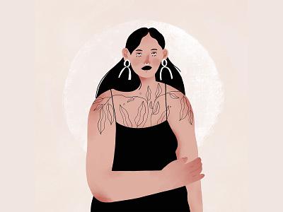 Beautiful woman with tattoos bodypositive woman mood texture character digital art illustration magazine illustration
