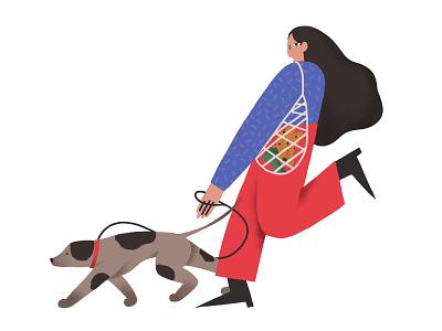 Dog walk woman pets texture walk dog illustration digital art