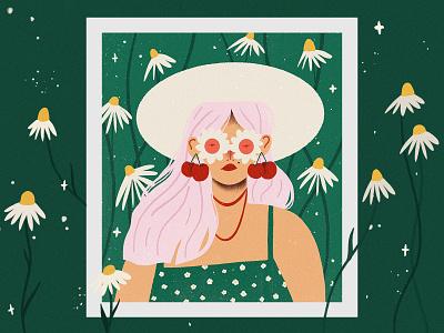 Daisy girl 2d illustration design female flowers texture illustraion procreate character nature daisy stars flower floral
