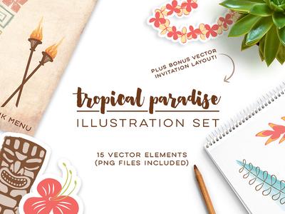 Tropical Paradise Set_Frostiki luau polynesian summer creative market illustration set tropical tiki