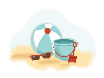 A day at the beach sunglasses pail bucket texture summer sand beach