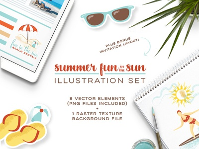 Summer Fun in the Sun Set_Frostiki illustration set creative market beach surfing summer retro vintage