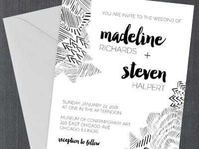 Sketch Doodle Wedding Invitation hand sketched black white ink pen sketch doodle wedding invitation