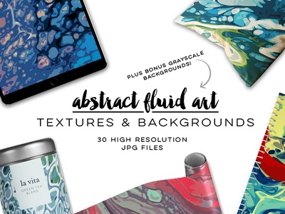 Fluid Art Textures and Backgrounds Set abstract fluid art bright colors marbled creative market colorful background painting flow art illustration